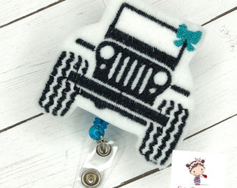 Jeep With Bow Badge ID Reel * Embroidered * Custom Made  * FREE Shipping
