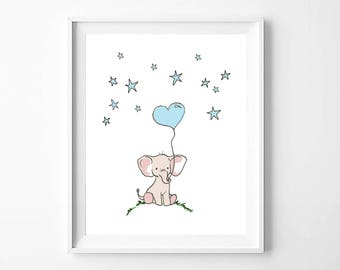 Elephant nursery print, blue, Instant download
