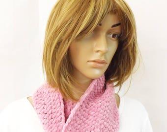 Crochet Fondant Pink Cowl Neck Warmer Infinity Scarf