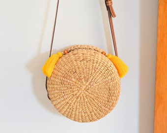 Straw bag • Thai Weaving seagrass(water hyacinth) • cross body bag • handmade with leather strap • boho bag in round s : with tassel