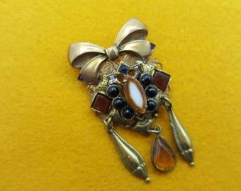Victorian Brass Revival Brooch Art Glass Maximal Art Style