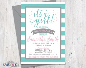 Teal And Gray Baby Shower Invitations, Pink And Gray Itu0027s A Girl, Teal  Striped Shower Invitation, Girl Baby Shower Invitation, Pink And Gray