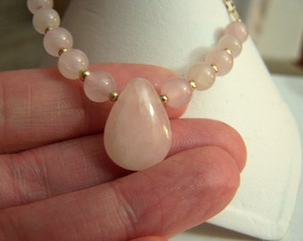 Rose Quartz Pendant Necklace Gold Filled Handmade Artisan Womens Fine Jewelry Genuine Gemstone Choker Style