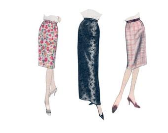 60s Pencil Skirt pattern Vogue Maxi skirt pattern Slim Skirt pattern vintage 34-26-36 Waist 26 madmen vogue 5376