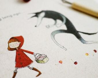 Little Red Riding Hood, Handprinted Linen Cotton Fabric Piece, 20 x 20cm / 8'' x 8''