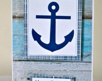 Handmade Nautical Birthday Card / Anchor card / Sailor