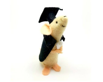 Graduation gift, handmade felt mouse, personalised keepsake for him or for her, collectable, suitable for mouse/rat lovers