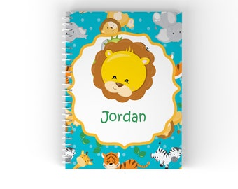 Safari Personalized Notebook - Safari Animal Face Blue Safari Animals with Name, Customized Spiral Notebook Back to School