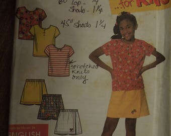 Simplicity 7547, sizes 3-12, shorts and knit top, UNCUT sewing pattern, craft supplies