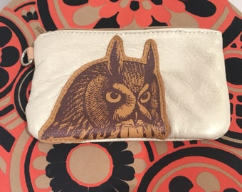 Owl leather up cycled clutch.