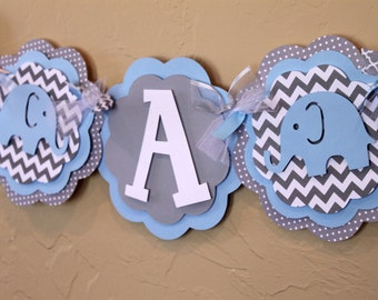 Elephant Chevron Stripe and Polka Dot IT'S A BOY Banner Baby Light Blue, and Gray Baby Shower Birthday Party Decorations Banner