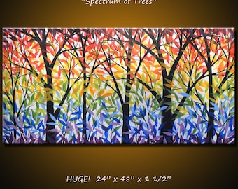 """Art Painting Rainbow Landscape Original Large Abstract Modern Trees ... 24 x 48 .. """"Spectrum of Trees"""" by Amy Giacomelli"""