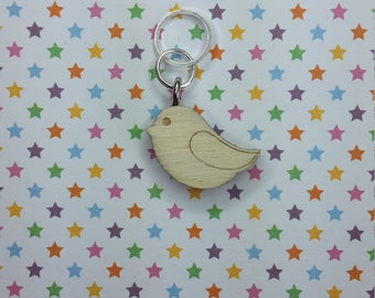 Sparrow wooden stitch marker - knitting notions - charm