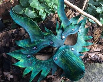 Dragon Leather Mask Green Handmade BDSM Larp Cosplay Masquerade Mask