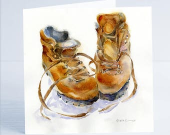 These Boots are made for Walking Greeting Card - Taken from an original watercolour by Sheila Gill