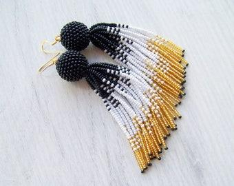 4 inches white, gold and black ombre tassel earrings - Luxury beaded fringe statement earrings - Long dangle tassle beadwork earrings