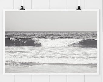 Black and White print, Ocean print, black and white wall art, beach house decor, jersey shore print, ocean photography, wall art