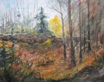 Original painting, watercolor landscape, 12x16, autumn landscape, landscape painting, fall scenic painting, autumn forest, woodland painting