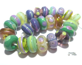 SONOMA Handmade Lampwork Beads - Wine Colors Purple Lavender Green Mint   - Organic Rounds -