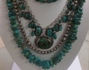 Native American Sterling Silver & Turquoise Multi-Strand Necklace