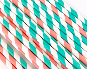 Turquoise and Coral Paper Straws, Summer Party, Miami Dolphins, Boys Birthday, Girls Birthday Cake Pop Sticks, Beverage Straws