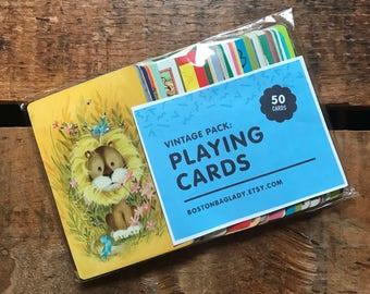 Vintage Playing Cards - Assorted Set of 50 - Vintage Cards, Vintage Children Cards, Scrapbooking Ephemera, Junk Journal, Altered Art