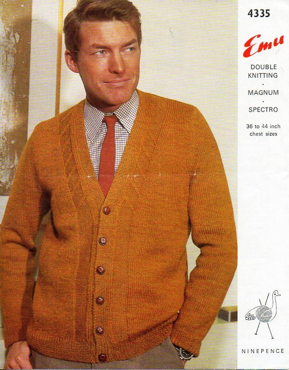 mens knitting pattern pdf DK or Chunky mens cardigan v neck