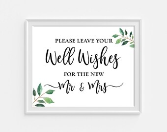 Well Wishes for the New Mr and Mrs Wedding Sign, Greenery Reception Party Sign, Greenery Calligraphy, 8x10 inch, INSTANT PRINTABLE