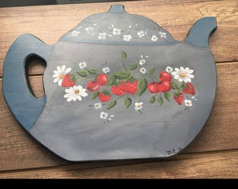 Wooden teapot - shaped kitchen tray