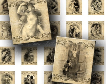 INSTANT DOWNLOAD Vintage Love Paintings Lovers Aged Antique Digital Collage Sheet .75 x .873 Inch for Scrabble Tile Pendants Crafts (S104)