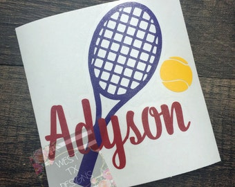 Tennis Decal | Tennis Monogram | Personalized Tennis Decal | Sports Decal | Car Decal | Yeti Decal | Tennis Decal with Name |Vinyl Decal
