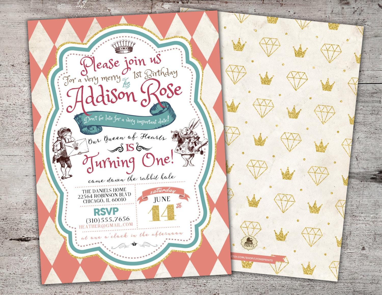 Alice in Wonderland Invitation First Birthday Invitation Mad