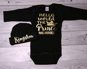 baby boy clothes, baby boy coming home outfit, newborn baby boy take home outfit, the prince has arrived, baby boy outfit, newborn baby boy