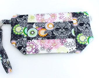 Wristlet Wallet - iPhone Plus - Large Wristlet Clutch with hand strap and removable wrist strap - EDC Wristlet - EDC Wallet - Pink Skulls