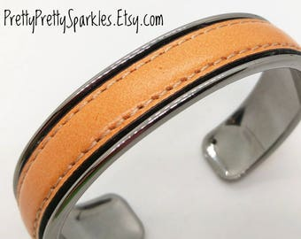 Tan Leather Cuff Bracelet / leather bracelet for women / tan stitched leather bracelet / genuine leather bracelet / tan cuff