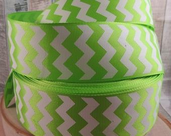 "3 yards 1 1/2"" lime green chevron grosgrain ribbon"