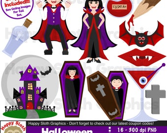 Halloween Vampires clipart set, personal and commercial use vector, Undead digital clip art set.