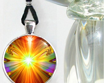 """Chakra Jewelry, Handmade Necklace, Reiki Energy Pendant, Psychedelic """"Light Being"""""""
