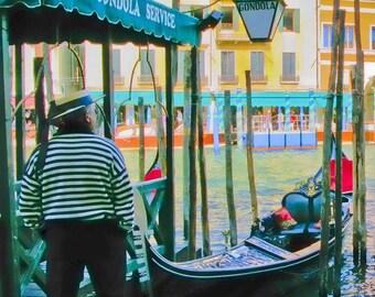 It's a Beautiful Life - Italy photography - Venice - Fine art travel photo - gondolier, boat, whimsical street scene