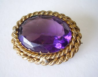 Brooch Late Victorian Amethyst Glass Large Oval Sash Pin Early Design Lever Locking Pin C Clasp Vintage Pin