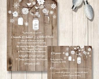Winter Wedding Invitation Mason Jar And Snowflake Invitations Rustic Invite