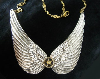 Steampunk necklace Angel Wings silver, angel wings necklace A485