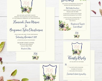 Navy Watercolor Floral Crest Wedding Invitation Suite, Online Wedding Invite Template, Affordable Wedding Invitation Package, Hadley Designs