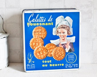 Vintage French Biscuits Blue Metal Box    Brittany Specialties Decorative Tin - Retro Kitchen Metal Box - Country Style