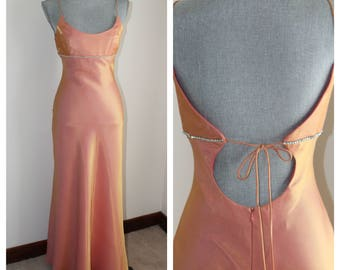 Pale Orange Evening Gown by Faviana, 90s Retro Formal Dress, Size 7 / 8 Low Back Rhinestones