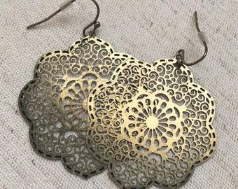 Brushed Gold Medallion Earrings- Lightweight Medallion Earrings- Gold Earrings- Brushed Gold Earrings- Lightweight Gold Earrings- Earrings-