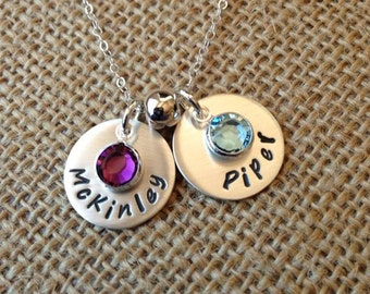 Birthstone Necklace, Mom Necklace, 2 Name Personalized Grandma Necklace, Stamped Evermore