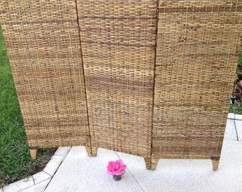 """WOVEN RATTAN TRIFOLD Room Divider 72"""" tall/ Folding Rattan Divider /Campaign style Palm Beach Chic / Coastal Cottage Style Retro Daisy Girl"""