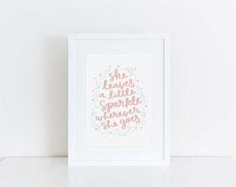 She Leaves A Little Sparkle Wherever She Goes Girls Room Decor Baby Girl Nursery Print Girls Room Wall Art Peach Mint Girls Room Wall Art