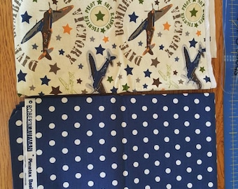 4 Yards Airplane and Polka Dot Cotton Fabric Quilt Kit,  Coordinating Cotton Fabric Quilt Kit - Quiltsy Destash Party SALE